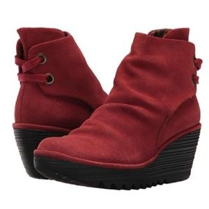 Fly London Yama Red Suede Ankle Boots